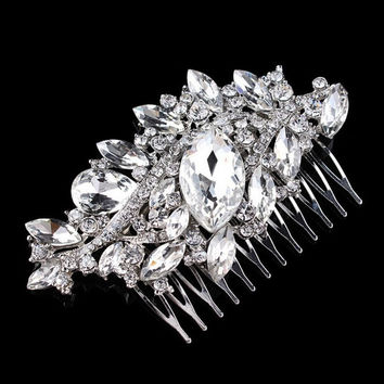 """3.7"""" Large Vintage Style Dark Silver Tone Bridal Hair Comb Accessory Wedding Headpiece Jewelry with Rhinestone Crystals"""