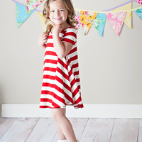 Girls All American Tunic Dress Red