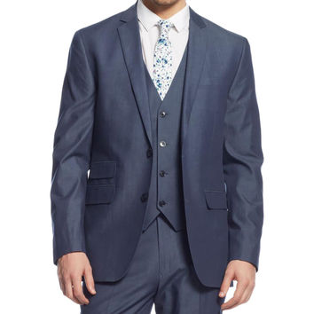 Bar III Mens Chambray Slim Fit Two-Button Blazer
