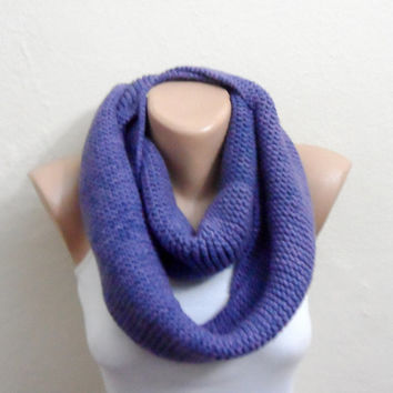 purple knit infinity scarf  lilac circle scarf crochet scarf