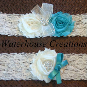 Tiffany Blue Vintage Bridal Garter Set in Ivory or White- Wedding Garter Set -Toss Garter- Rhinestone and Lace- Custom Colors