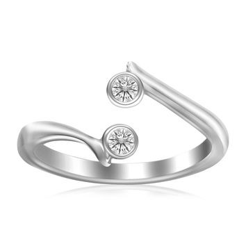 Sterling Silver Rhodium Finished Open Style Cubic Zirconia Accented Toe Ring