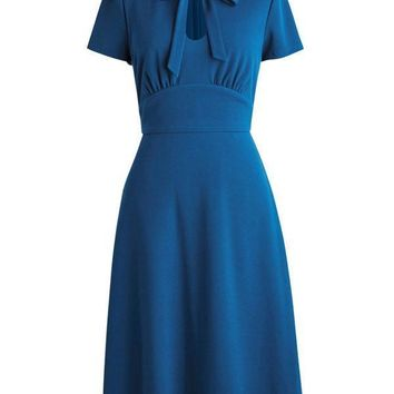 1940s Solid Front Pleated Bow Dress