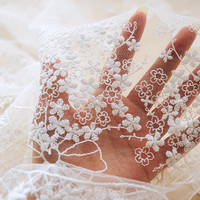 "Lace Fabric Ivory Tulle Cotton Babysbreath Floral Embroidered Fabric Dress Bridal Veil Floral 51.1"" Wide 1 Yard"
