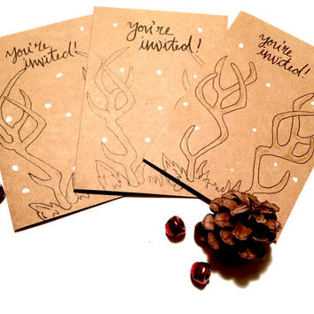 You're Invited! Holiday Antler Christmas Party Invitations