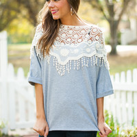 Crochet Overlay Top, Gray