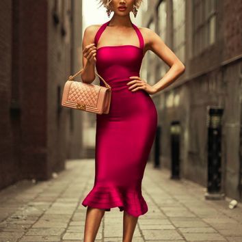 Mikayla Halter Fishtail Bandage Dress