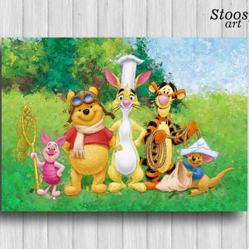 winnie the pooh poster disney decor nursery wall art kids painting