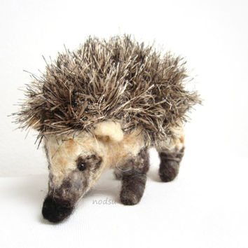 Hedgehog, needle felted, hedgie, crochet, realistic, fiber sculpture, soft sculpture, animal, pin cushion