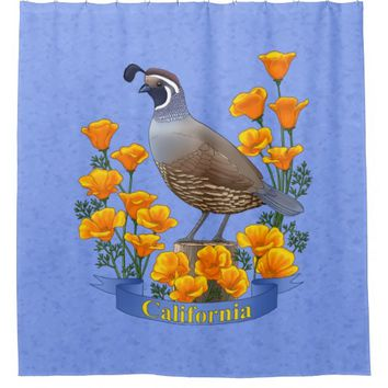 California State Bird Quail & Golden Poppy Shower Curtain