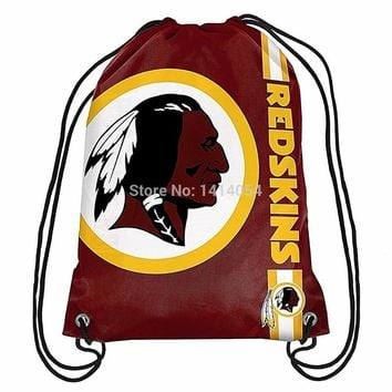 Washington Redskins  wordmack Drawstring Backpack 35x45CM NFL Digital Printing Polyester Custom Sports Backpack, free shipping