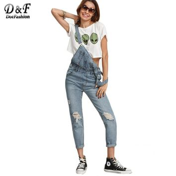 Ripped Stone Wash Denim Overall Jeans Women Cute Wear Vintage Sleeveless with Pockets Jumpsuits