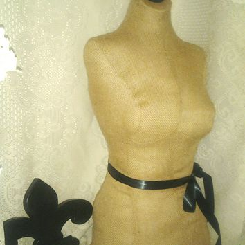 French Burlap Dress Form jewelry display with wood stand. Paris mannequin torso designs home decor french manikin