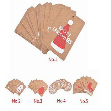 50X Christmas DIY Kraft Brown Gift Paper Label Price Hang Tags Cards Wedding HU