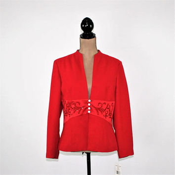 Red Cocktail Jacket Women Large Petite Size 12 Dressy Beaded Formal Evening Christmas Party Holiday Clothing Red Jacket Womens Clothing