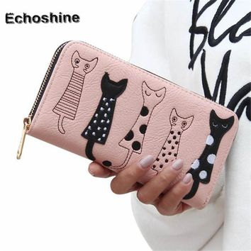 Brand new Women Cat Cartoon Wallet Long Female Card Holder Casual Zip Ladies Clutch Leather Coin Purse ID Holder Gift A1500
