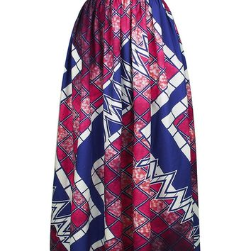 Streetstyle  Casual Elastic Waist Geometric Printed Pleated High-Rise Maxi Skirt