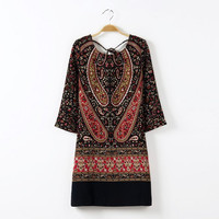 Summer Vintage Print Three-quarter Sleeve Stylish Sexy Hollow Out One Piece Dress [4917896580]