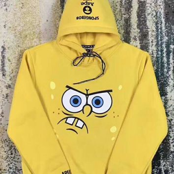 AAPE Fashion Women Men Casual Spongebob Squarepants Print Hoodie Top Sweater High Quality I-A-HRWM
