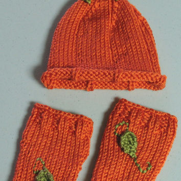 Newborn / Orange Hand Knit Pumpkin Hat with Matching Leg Warmers and FREE USA S&H