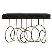 Brass Console Table Embossed in Faux Black Cobra Skin