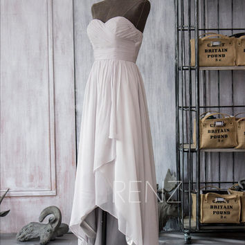2015 Gray White High Low Bridesmaid Dress, Chiffon White Cocktail dress, Sweetheart Strapless Prom Dress Long, Ruched dress (F098)-RenzRags
