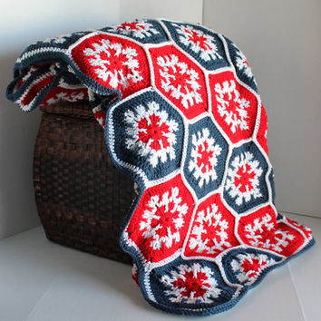 Afghan- Handmade Queen Hexagon Crochet Blanket - Bright Americana