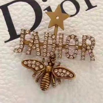 Free shipping-Dior new diamond-studded bee brooch
