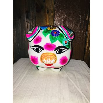 White Hand Painted Piggy Bank