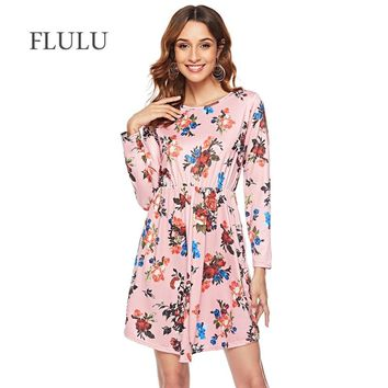 FLULU Summer Dress Women Casual Bohemian Print Floral Dress Female Vintage O-Neck Long Sleeve Party Dresses Vestidos 2XL