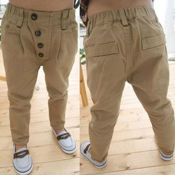 2-7Y Baby Trousers Toddler Kid Boy Pants Khaki Casual Pants Straight Children Clothes