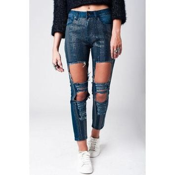 CREYON RIPPED SKINNY JEAN WITH SEQUIN INSERTS