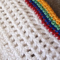 Crocheted Placemats Set of Five 5 White with Multicolor Edging Vintage