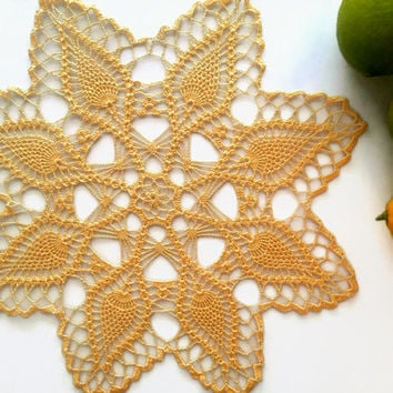 Lemon Yellow doily, crochet doily, lace doily, 12.6 inches table topper, lace centerpice