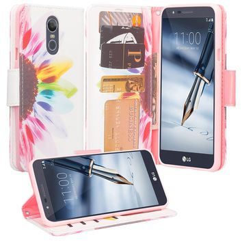 LG Stylo 4 Case, Stylo 4 Wallet Case, Wrist Strap Pu Leather Wallet Case [Kickstand] with ID & Credit Card Slots - Vivid Sunflower