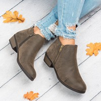 Zoey Zipper Ankle Booties - Brown