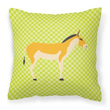 Turkmenian Kulan Donkey Green Fabric Decorative Pillow BB7680PW1818