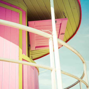 Miami South Beach Colorful Lifeguard Station Fine Art Photography Print