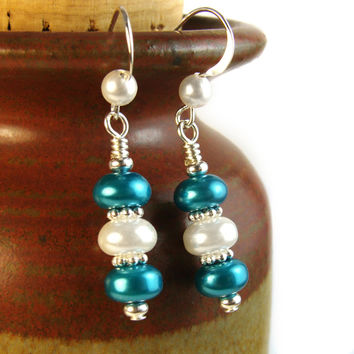 Blue and White Pearl Earrings Handmade Dangles Beaded Jewelry | PrettyGonzo - Jewelry on ArtFire