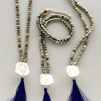 No Frills Goddess Quartz Stone and Tassel Necklace
