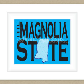 8x10 Mississippi Print, Magnolia State Map Art Custom Colors