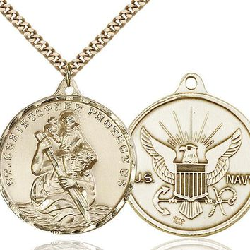 Men's 14K Gold Filled St Christopher Navy Military Catholic Medal Necklace 617759633832