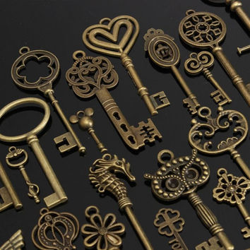 1 Set of 69 Antique Vintage Old Look Bronze Skeleton Keys Fancy Heart Bow Necklace Pendant