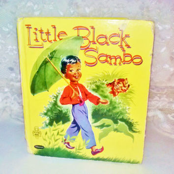 Vintage Little Black Sambo Tell A Tale Childrens Book 1953 by Gladys Turley Michell Whitman Publishing Co Black Americana Folk Collectible