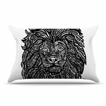 "Adriana De Leon ""The Leon"" Lion Illustration Pillow Case"