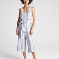 Sleeveless Tie-Belt Stripe Jumpsuit in Linen | Gap