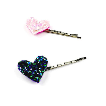 Glitter Heart Grips - Custom Hair Clips, Sparkly Bobby Pins, Glitter Hair Accessories, Sparkly Hair Pins, Heart Pins, Heart Hair Grips