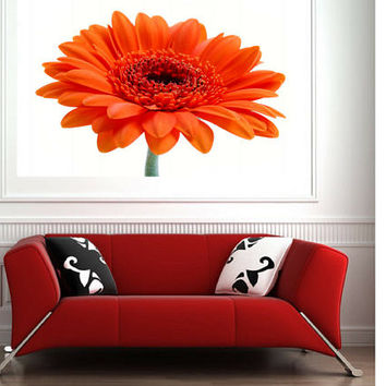 Gerbera print Orange Gerbera art Flower wall art Macro  Daisy Print Flower home decor Orange Gerbera Daisy Orange white tan Floral still