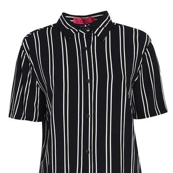 Ivy Striped Short Sleeve Boxy Shirt | Boohoo