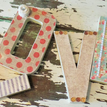 LOVE letters, Bridal Shower Baby Shower Decor, Shabby Chic Home Decor, Mother's Day Gift, Dorm Room Decor